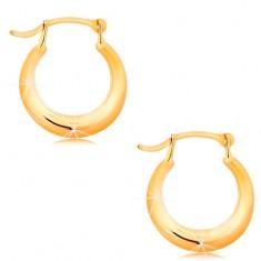 Zlaté náušnice 585 - malé lesklé kroužky, zaoblený lesklý povrch