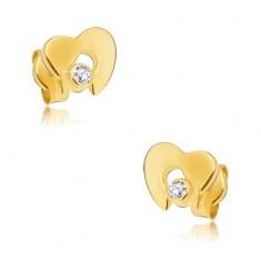 Diamantové zlaté náušnice 585 - lesklé srdce s výřezem a čirým briliantem