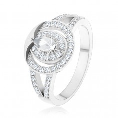 Stříbrný prsten 925, čirý zirkonový kroužek se zrnkovitým zirkonem uprostřed