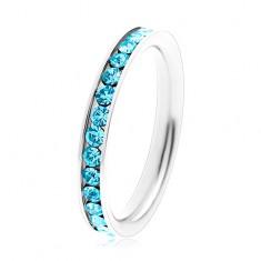 Prsten z chirurgické oceli - kulaté zirkony akvamarínové barvy