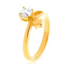 Ocelový prsten zlaté barvy, hvězda a kulatý čirý zirkon