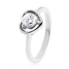 Prsten z oceli 316l stříbrné barvy, obrys srdíčka, čirý zirkon