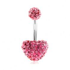 Ocelový piercing do bříška, kulička a srdce, růžové třpytivé zirkony