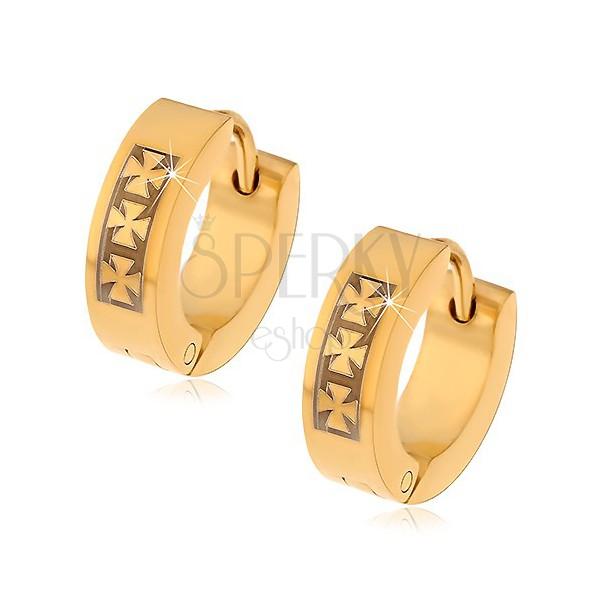 Ocelové náušnice zlaté barvy se vzorem tří maltézských křížů