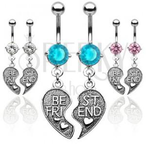 Dvojitý piercing do pupíku - přepůlené srdce BEST FRIEND