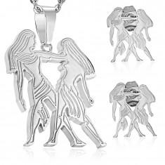 Souprava z chirurgické oceli ve stříbrném odstínu, přívěsek a náušnice, znamení BLÍŽENCI AA40.30