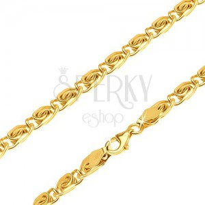 Řetízek ze žlutého 14K zlata - malé články s esíčkovým motivem, 600 mm