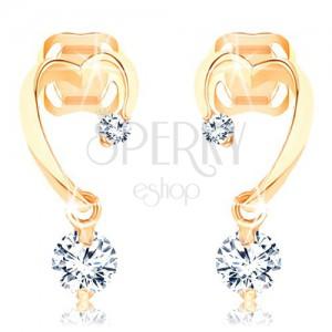 Diamantové zlaté náušnice 585 - neúplný obrys srdce, dva blýskavé brilianty