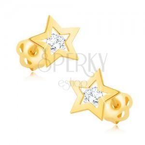 Briliantové náušnice ze žlutého 14K zlata - obrys hvězdičky, čirý diamant
