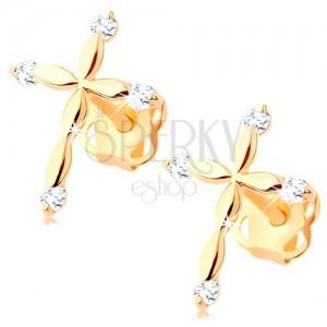 Zlaté diamantové náušnice 585 - latinský křížek, čiré brilianty
