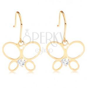 Náušnice ve žlutém 14K zlatě - tenký obrys motýla, kulatý diamant čiré barvy