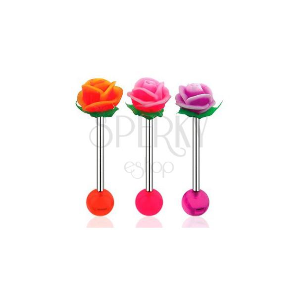 Piercing do jazyka, činka z oceli 316L, akrylová kulička a UV růžička