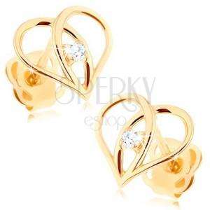 Diamantové náušnice ze zlata 585 - kontura srdce s briliantem