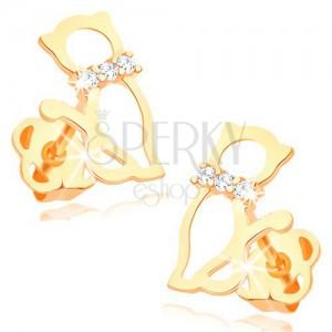 Náušnice ve žlutém 14K zlatě - obrys kočky s diamantovým obojkem