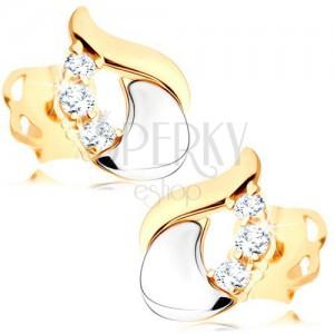 Diamantové náušnice - lesklá slza ze 14K bílého a žlutého zlata, tři čiré brilianty