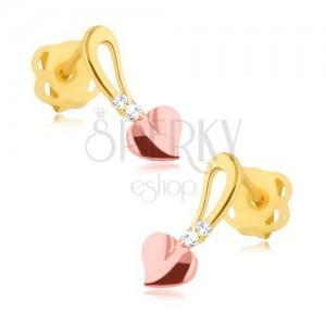 Briliantové náušnice - 14K žluté a růžové zlato, srdíčko na stopce, diamanty