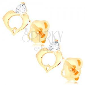 Náušnice ve žlutém 14K zlatě - čirý diamant, kontura srdce ze dvou delfínů