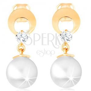 Zlaté náušnice 585 - kruh s výřezem a čirým diamantem, visící bílá perla