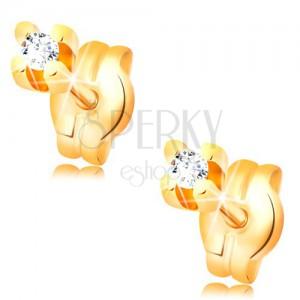 Diamantové náušnice ve žlutém 14K zlatě - kulatý briliant čiré barvy, 1,5 mm