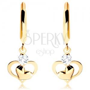 Briliantové zlaté náušnice 585 - lesklý kruh s visícím diamantem a srdíčky