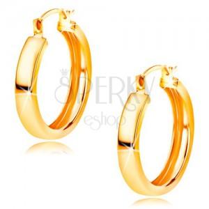 Zlaté náušnice 585 - kruhy s lesklým hladkým povrchem, 16 mm