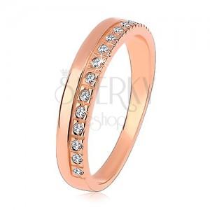 Prsten ze stříbra 925 měděné barvy, čirá zirkonová linie, vysoký lesk