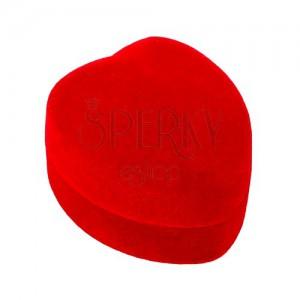 Srdíčková krabička na prsten nebo náušnice - červený sametový povrch
