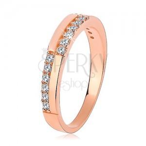 Stříbrný prsten 925 v měděném odstínu, linie čirých zirkonů