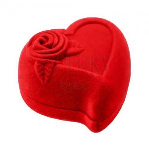 Dárková krabička na dva prsteny nebo náušnice, červené srdce s růží
