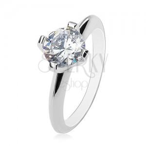 Zásnubní prsten - stříbro 925, velký čirý zirkon, lesklá zkosená ramena