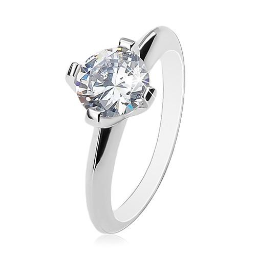 Zásnubní prsten - stříbro 925, velký čirý zirkon, lesklá zkosená ramena - Velikost: 49