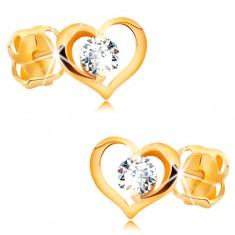 Briliantové náušnice ze žlutého 14K zlata - čirý diamant v obrysu srdce