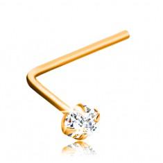 Zlatý piercing 375, zahnutý tvar - broušený zirkon čiré barvy, 2 mm