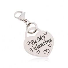 Přívěsek na klíčenku, chirurgická ocel, srdce s nápisem Be My Valentine AA43.24