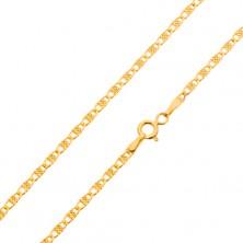 Řetízek ve žlutém 14K zlatě, blýskavá oválná očka s mřížkou, 500 mm