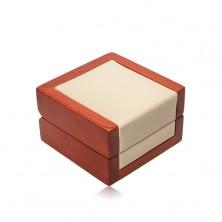Dřevěná dárková krabička na řetízek nebo náušnice, krémová koženka