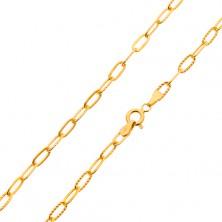 Řetízek ve žlutém 14K zlatě - hladká a vroubkovaná větší oválná očka, 500 mm