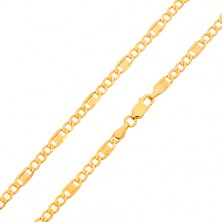 Zlatý řetízek 585 - tři oválná očka, článek s řeckým klíčem, 500 mm