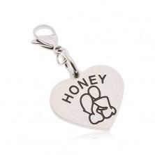 Ocelový přívěsek na klíčenku, srdce s nápisem HONEY, zamilovaná dvojice
