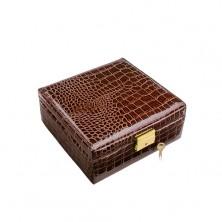 Kufříková šperkovnice na hodinky, imitace lesklé hnědé krokodýlí kůže