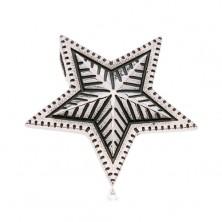 Ocelový přívěsek ve stříbrném odstínu, velká patinovaná hvězda