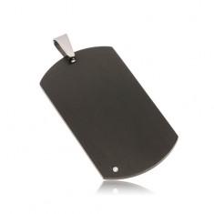 Černý ocelový přívěsek - matná obdélníková známka s čirým zirkonem AA45.23