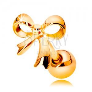Piercing do ucha ve žlutém 14K zlatě - lesklá uvázaná mašlička