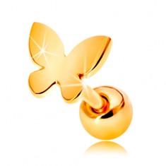 Zlatý 585 piercing do ucha - malý plochý motýlek s lesklým povrchem
