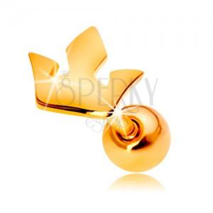Piercing do ucha ze žlutého 14K zlata - malá trojcípá korunka