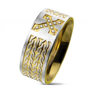 Prsten z chirurgické oceli, kříž se zirkony, řetízkový vzor, 9 mm