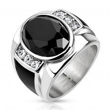 Ocelový prsten s černým broušeným oválem, čirými zirkony a černými pásy