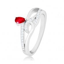 Prsten ze stříbra 925, červený slzičkovitý zirkon, zvlněné zirkonové linie