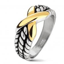 Ocelový prsten stříbrné barvy, zářezy na ramenech, X zlaté barvy
