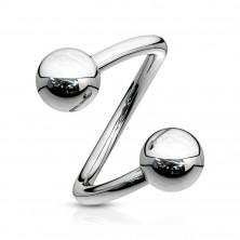 Ocelový piercing do obočí - spirála stříbrné barvy s kuličkou, 1,6 mm